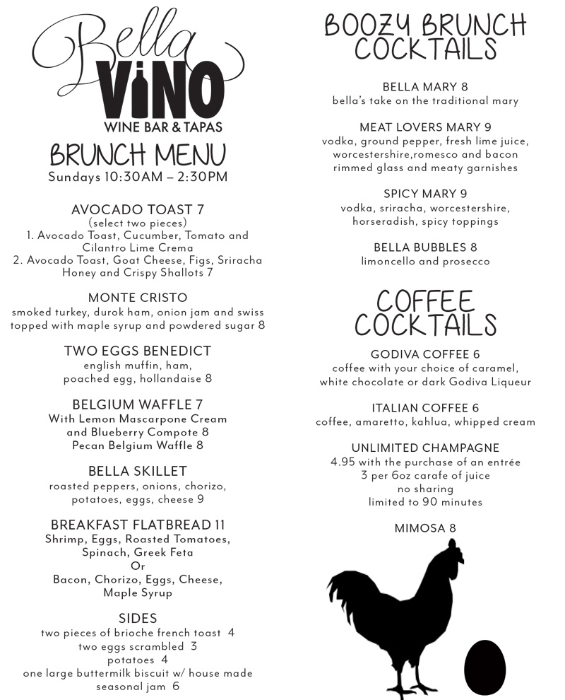 Bella Vino Brunch Menu